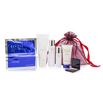 Shiseido Revital Set: Perfumed Shower Gel + Whitening Moisturizer EX II + Cleansing Foam II + Whitening Moisturizer EX II + Lifting Mask Science EX + Maquillage  6pcs