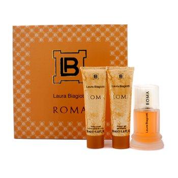 Laura Biagiotti Roma Coffret: Eau De Toilette Spray 50ml/1.6oz + Body Cream 50ml/1.6oz + Shower Gel 50ml/1.6oz  3pcs