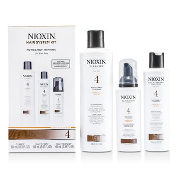 Nioxin System 4 System Kit for Fine Hair, Chemically Treated, Noticeably Thinning Hair: Cleanser 300ml + Scalp Therapy 150ml + Scalp Treatment 100ml  3pcs