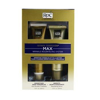 ROC Retinol Correxion Max Wrinkle Resurfacing System: Anti-Wrinkle Treatment 30ml + Resurfacing Serum 30ml  2pcs