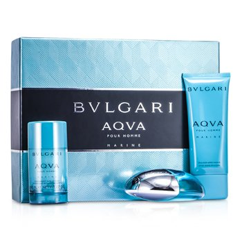 Bvlgari Aqva Pour Homme Marine Coffret: Eau De Toilette Spray 100ml/3.4oz + Deodorant Stick 75g/2.7oz + After Shave Emulsion 100ml/3.4oz  3pcs