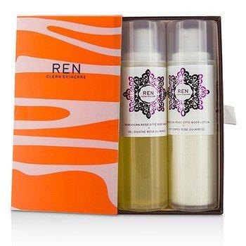 Ren Morococann Rose Duo: Body Wash 200ml/6.8oz + Body Lotion 200ml/6.8oz  2pcs
