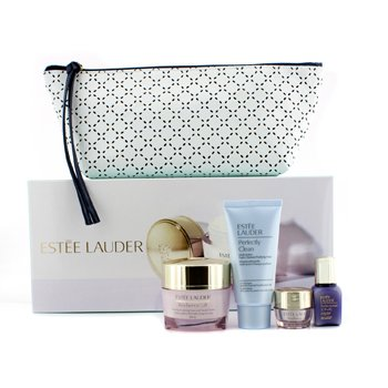 Estee Lauder Your Complete System: Resilience Face & Neck Cream 50ml + Perfectionist Serum 15ml + Eye Cream 5ml + Perfectly Clean 50ml + Bag  4pcs+1bag