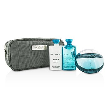 Bvlgari Aqva Pour Homme Marine Coffret: Eau De Toilette Spray 100ml/3.4oz + Shower Gel 75ml/2.5oz + After Shave Balm 75ml/2.5oz + Pouch  3pcs+1pouch