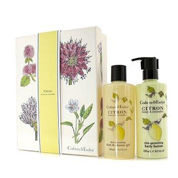 Crabtree & Evelyn Citron, Honey & Coriander Duo: Bath & Shower Gel 250ml + Body Lotion 250ml  2pcs