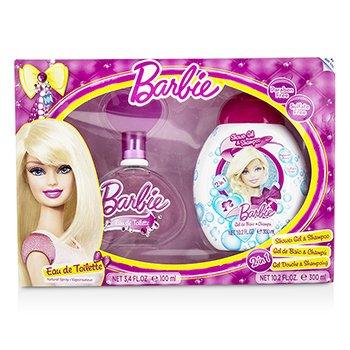 Air Val International Barbie Coffret: Eau De Toilette Spray 100ml/3.4oz + Shower Gel & Shampoo 300ml/10.2oz  2pcs