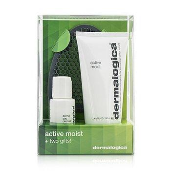 Dermalogica Active Moist Limited Edition Set: Active Moist 100ml + Dermal Clay Cleanser 30ml + Facial Cleansing Mitt  3pcs