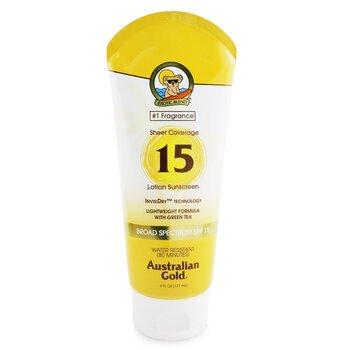 Australian Gold Sheer Coverage Lotion Sunscreen Broad Spectrum SPF 15  177ml/6oz