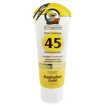 Australian Gold Sheer Coverage Faces Sunscreen Broad Spectrum SPF 45  88ml/3oz