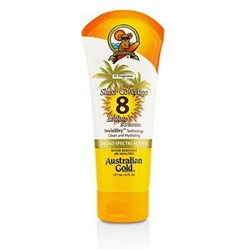 Australian Gold Sheer Coverage Lotion Sunscreen Broad Spectrum SPF 8  177ml/6oz