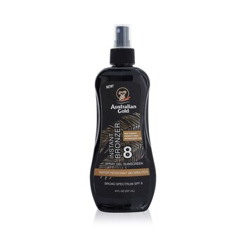 Australian Gold Spray Gel Sunscreen Broad Spectrum SPF 8 with Instant Bronzer  237ml/8oz