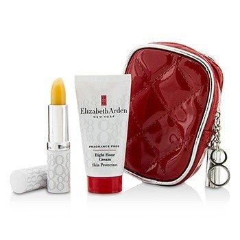 Elizabeth Arden Eight Hour Cream Set: Eight Hour Cream Skin Protectant Fragrance Free 28g/1oz + Lip Protectant Stick SPF 15 3.7g/0.13oz + Bag  2pcs+1bag