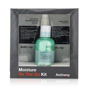 Anthony Moisture On The Go Kit: All Purpose Facial Moisturizer 90ml + Invigorating Rush Hair & Body Wash 100ml + Hand Cream 90ml  3pcs