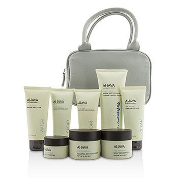 Ahava Essential Beauty Case: Body Exfoliator+Body Lotion+Cleanser+Facial Exfoliator+Mask+Day Cream+Night Cream+Eye Cream+Gray Bag  8pcs+1bag