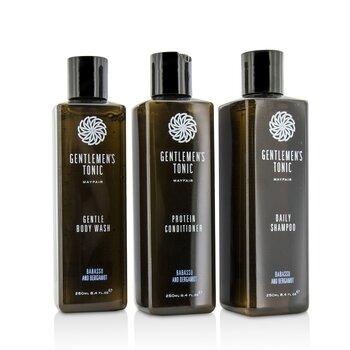 Gentlemen's Tonic Shower Gift Set: Gentle Body Wash 250ml + Daily Shampoo 250ml + Protein Conditioner 250ml  3pcs