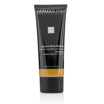 Dermablend Leg and Body Make Up Buildable Liquid Body Foundation Sunscreen Broad Spectrum SPF 25 - #Tan Golden 65N  100ml/3.4oz