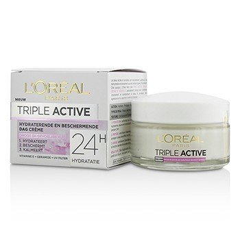 L'Oreal Triple Active Multi-Protective Day Cream 24H Hydration - For Dry/ Sensitive Skin  50ml/1.7oz