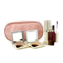 Kanebo Cheek & Lip Makeup Set With Pink Cosmetic Bag (2xCheek Color, 3xMode Gloss, 1xBrush, 1xCosmetic Bag)  6pcs+1bag