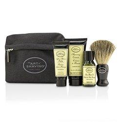 The Art Of Shaving Starter Kit - Unscented: Pre Shave Oil + Shaving Cream + After Shave Balm + Brush + Bag  4pcs + 1 Bag