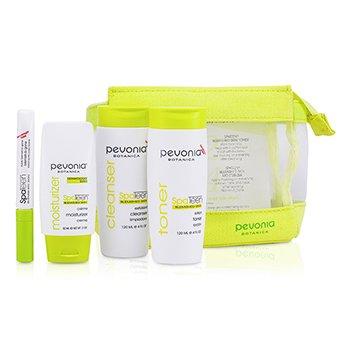 Pevonia Botanica SpaTeen Blemished Skin Kit: Cleanser + Toner + Moisturizer + Bag  3pcs+1bag