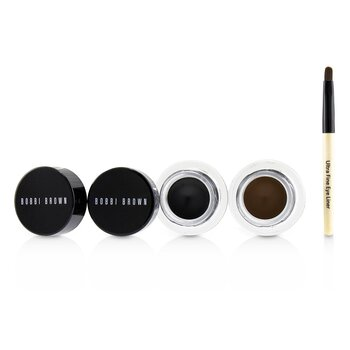 Bobbi Brown Long Wear Gel Delineador Duo: 2x Gel Delineador 3g ( Black Ink, Sepia Ink ) + Mini Ultra Fine Pincel delineador  3pcs