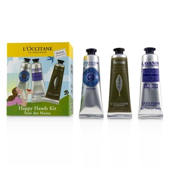 L'Occitane Happy Hands (Manos) Kit: 2x Mantequilla Shea 30ml + 2x Lavender 30ml + 2x Gel Enfriador Manos 30ml  6x30ml/1oz