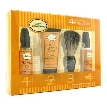 The Art Of Shaving Starter Kit - Lemon: Pre Shave Oil + Shaving Creme + Brush + Bálsamo pós barba  4pcs