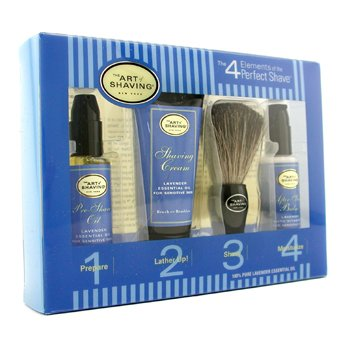 The Art Of Shaving Starter Kit - Lavender: Pre Shave Oil + Shaving Cream + Brush + After Shave Balm  4pcs