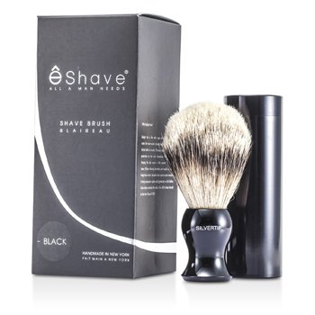 EShave Travel Brush Silvertip With Canister - Black  1pc