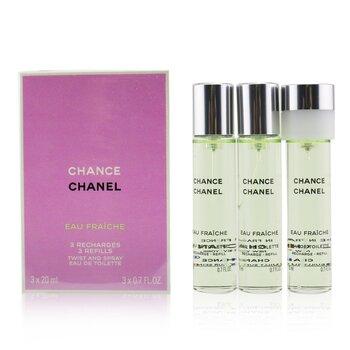 ชาแนล สเปรย์น้ำหอม Chance Eau Fraiche Twist & Spray EDT รีฟิล  3x20ml/0.7oz