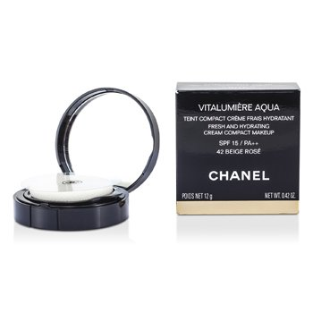 Chanel Vitalumiere Aqua Fresh And Hydrating Cream Compact MakeUp SPF 15 - # 42 Beige Rose  12g/0.42oz