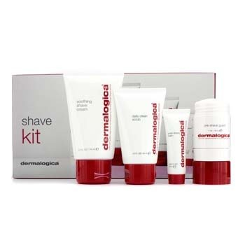 Dermalogica Shave Kit: Clean Scrub 44ml + Pre-Shave Guard 28.3g + Shave Cream 74ml + Post-Shave Balm 10ml  4pcs