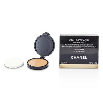 Chanel Vitalumiere Aqua Fresh And Hydrating Maquillaje Compacto Crema SPF 15 Recambio - # 52 Beige Rose  12g/0.42oz