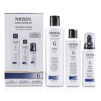 Nioxin System 6 Kit For Medium to Coarse & Normal to Thin-Looking Hair: Cleanser 300ml + Scalp Therapy 150m  3pcs