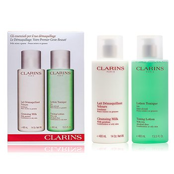 Clarins Cleansing Coffret: Cleansing Milk 400ml + Toning Lotion 400ml (Combination or Oily Skin)  2pcs