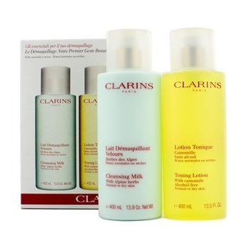 Clarins Caixa de limpeza Cleansing: Leite de limpeza 400ml + Loção tônica 400ml (pele seca e normal) 192284  2pcs