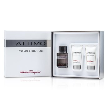 Salvatore Ferragamo Attimo Pour Homme Coffret:Eau De Toilette Spray 60ml + Gel de Ducha 50ml + B�lsamo para Despu�s de Afeitar 50ml  3pcs