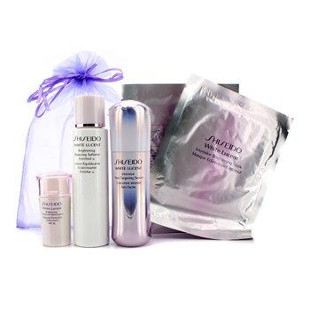 Shiseido Set White Lucent: Suavizante Enriquecido Iluminador Balanceador W 75ml + Suero Intensivo Dirigido a Manchas 30ml + Hidratante Iluminador Protector N SPF16 15ml + Máscara Iluminadora Intensiva x 2  5pcs
