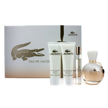 Lacoste Eau De Lacoste Coffret: Edp Spray 90ml/3oz + Edp Roll On 6ml/0.2oz + Losyen Badan 50ml/1.6oz + S  4pcs