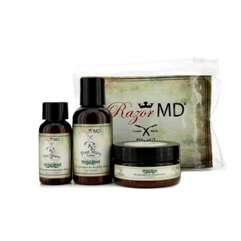 Razor MD RX Trio de Afeitar (Herbal Blend): Loción Post Afeitado 60ml + Aceite Pre Afeitado 30ml + Crema de Afeitar 60ml  3pcs