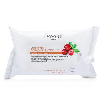Payot Les Demaquillantes Express 3 in 1 Cleansing Wipes For Face, Eyes & Lips  25 wipes