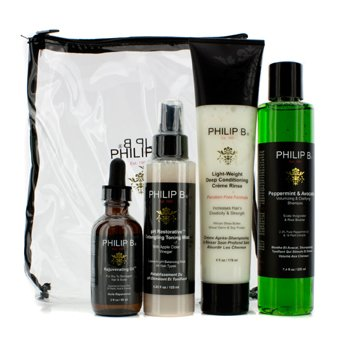 Philip B Four Step Hair & Scalp Treatment Set - Sem Parabenos (Todos Tipos De Cabelos)  4pcs