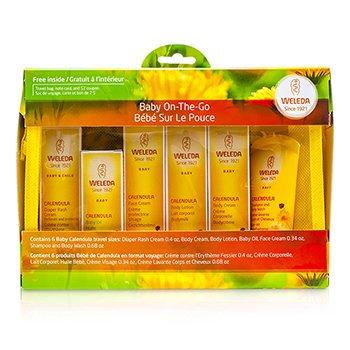 Weleda Baby On-The-Go Travel Kit: Body Wash 20ml/0.68oz+Face Cream 10ml/0.34oz+Body Cream 10ml/0.34oz+Baby Oil 10ml/0.34oz...  6pcs+1bag