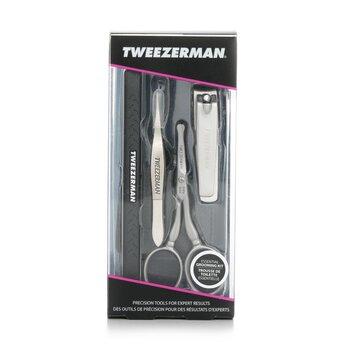 Tweezerman ست اصلاح: ناخن گیر دست + قیچی موی صورت + تمیز کننده ناخن + انبرک برطرف کننده ریشه های کناره ناخن  4pcs