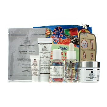 Kiehl's Clearly Corrective White Set: Clarifying Cream + Toner + Cleanser + Masque + UV Defense SPF 50 + Bag  6pcs+1bag