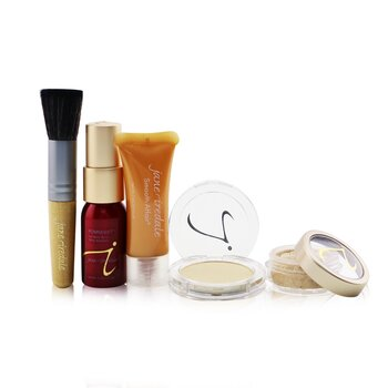Jane Iredale Kit Starter (6 Peças): 1xPrimer & Brighter, 1xPó Mineral, 1xBase Mineral, ... - # Medium Light  6pcs
