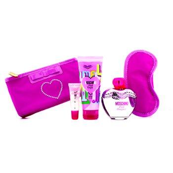 Moschino Pink Bouquet Coffret: Eau De Toilette Spray 100ml/3.4oz + Body Lotion 100ml/3.4oz + Lipgloss 10ml/0.3oz + Sleep Mask  4pcs