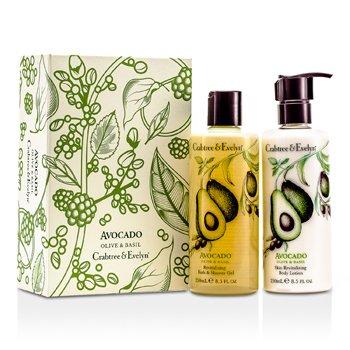 Crabtree & Evelyn Avocado, Olive & Basil Perfect Pair: Bath & Shower Gel 250ml + Body Lotion 250ml  2pcs