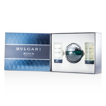Bvlgari Aqva Pour Homme Kofre: Eau De Toilette Sprey 100ml/3.4oz + Şampuan ve Duş Jeli  75ml/2.5oz + After Shave Emülsion 75ml/2.5oz  3pcs