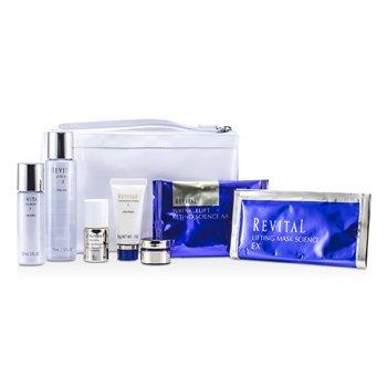 Shiseido Revital კომპლექტი: გამწმენდი ქაფი 20გრ + ლოსიონი EX II 75მლ + შრატი 10მლ + დამატენიანებელი EX II 30მლ + კრემი 7მლ + თვალის ნიღაბი + ნიღაბი + ჩანთა 7pcs+1bag